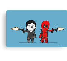 Chibi Deadpool and Domino  Canvas Print