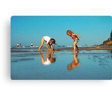 SISTERS PLAYING Canvas Print