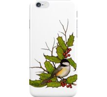 Christmas Holly with Chickadee Bird, Illustration iPhone Case/Skin