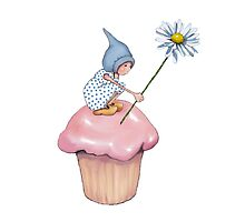 Little Gnome Girl on Pink Cupcake Holding Daisy by Joyce Geleynse