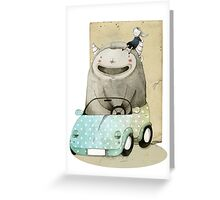 Monster In A Car Greeting Card