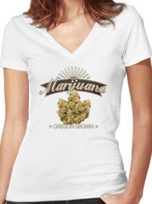 Marijuana Oregon Grown Women's Fitted V-Neck T-Shirt