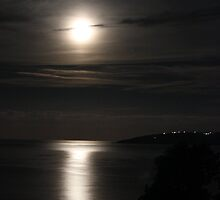 Moonlight over Lourdas Bay by johnslipimages