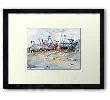 Fishing Boats at Hastings' Beach Framed Print