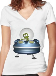 little Alien Lost in Space Women's Fitted V-Neck T-Shirt