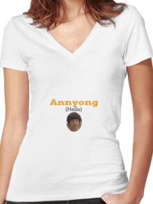 Annyong (Hello) Women's Fitted V-Neck T-Shirt