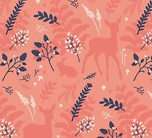 Pink Doe Woodland Pattern by hocapontas