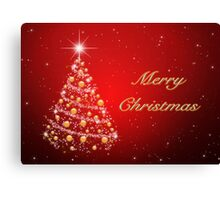 Merry Christmas Tree Red Canvas Print