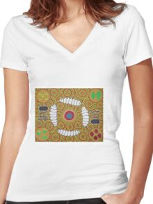 2 Women seated around Bush food having a meal Women's Fitted V-Neck T-Shirt