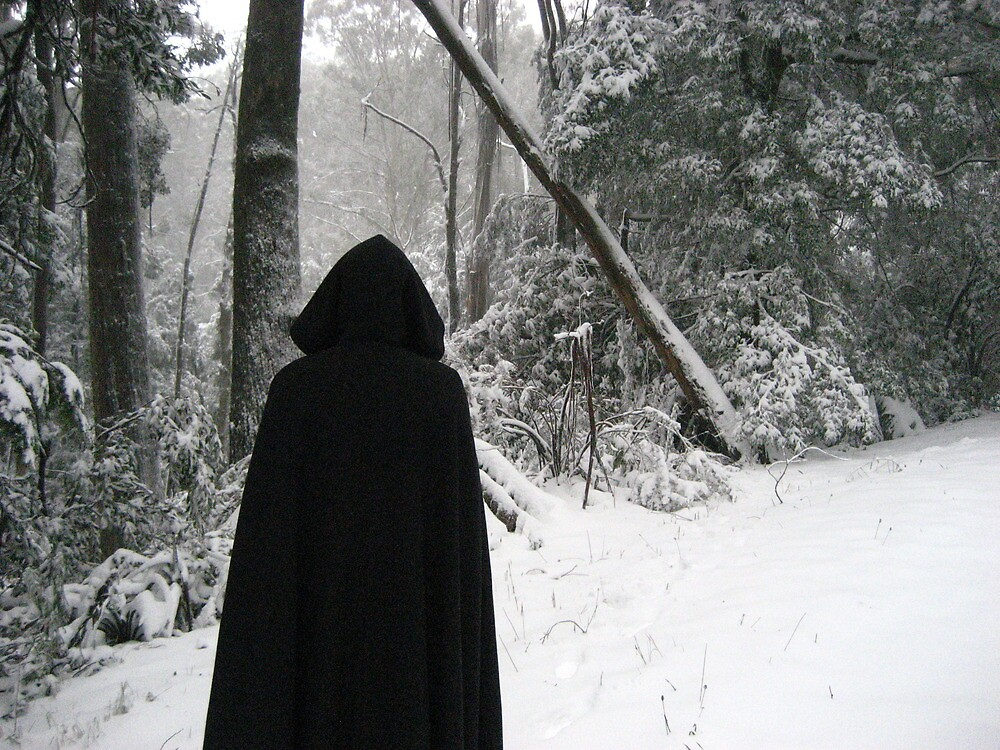 """Hooded figure in the snow"" by Adele Nash"