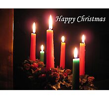 Christmas Candles (with text) Photographic Print