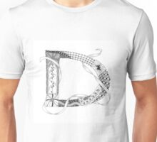 Zentangle®-Inspired Art - Tangled Alphabet - D Unisex T-Shirt