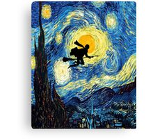 Halloween Flying Young Wizzard with broom Canvas Print