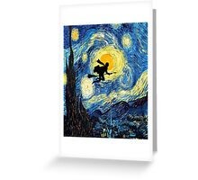 Halloween Flying Young Wizzard with broom Greeting Card