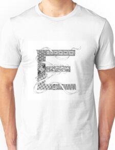 Zentangle®-Inspired Art - Tangled Alphabet - E Unisex T-Shirt
