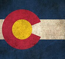 Old and Worn Distressed Vintage Flag of Colorado by Jeff Bartels