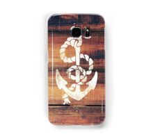 Vintage Nautical Anchor White on Brown Wood Grain Samsung Galaxy Case/Skin