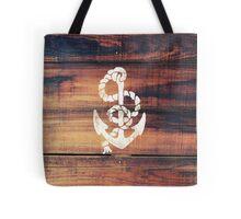 Vintage Nautical Anchor White on Brown Wood Grain Tote Bag
