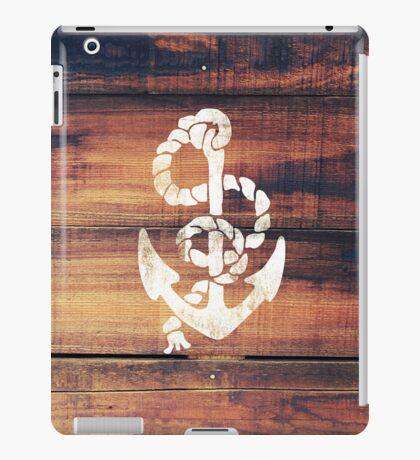 Vintage Nautical Anchor White on Brown Wood Grain iPad Case/Skin