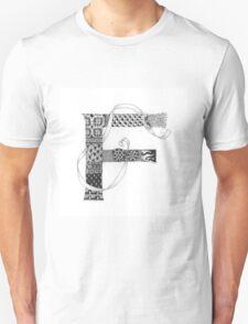 Zentangle®-Inspired Art - Tangled Alphabet - F T-Shirt