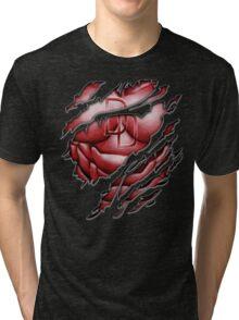 Red Devil torn tee tshirt pencils color art Tri-blend T-Shirt