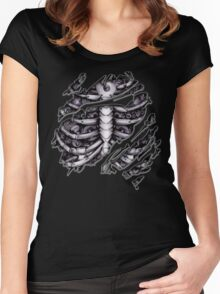 Steampunk terminator Cyborg robot body torn tee tshirt Women's Fitted Scoop T-Shirt