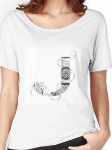 Zentangle®-Inspired Art - Tangled Alphabet - J Women's Relaxed Fit T-Shirt