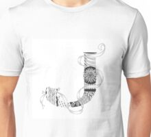 Zentangle®-Inspired Art - Tangled Alphabet - J Unisex T-Shirt