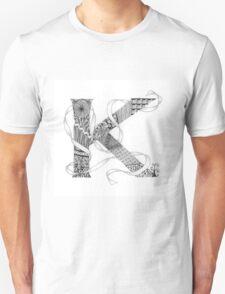 Zentangle®-Inspired Art - Tangled Alphabet - K T-Shirt