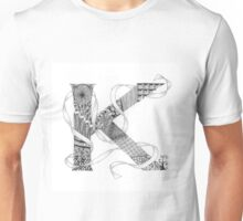 Zentangle®-Inspired Art - Tangled Alphabet - K Unisex T-Shirt
