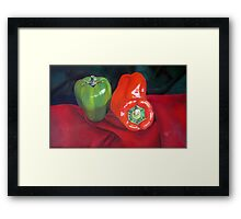 Green and Red Peppers Framed Print