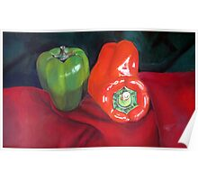 Green and Red Peppers Poster