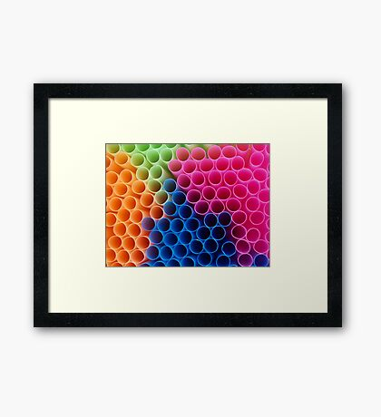 Coloured Straws Framed Print