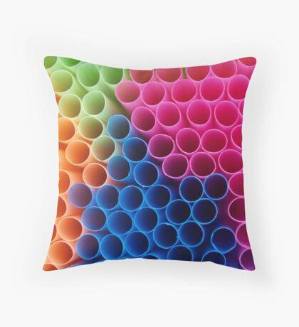 Coloured Straws Throw Pillow