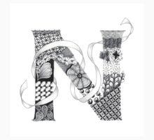 Zentangle®-Inspired Art - Tangled Alphabet - N One Piece - Long Sleeve