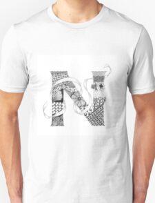 Zentangle®-Inspired Art - Tangled Alphabet - N T-Shirt