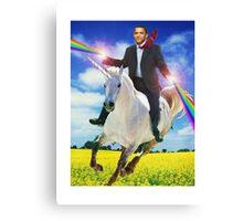 Obama unicorn win small Canvas Print