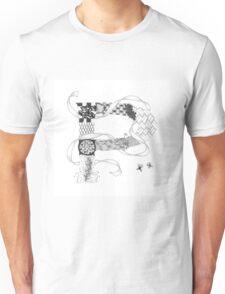Zentangle®-Inspired Art - Tangled Alphabet - P Unisex T-Shirt