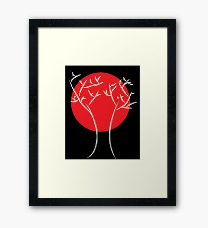 Red Moon with White Tree Framed Print