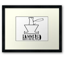 'HAMMERED' Simple but cool Grunge Rock Design Framed Print