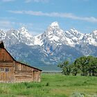 Old barn in front of Tetons by Buttershug2
