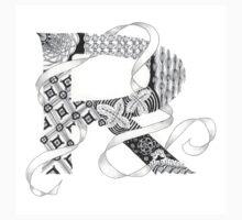 Zentangle®-Inspired Art - Tangled Alphabet - R Kids Tee