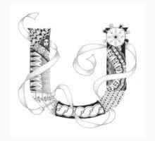 Zentangle®-Inspired Art - Tangled Alphabet - U Kids Tee