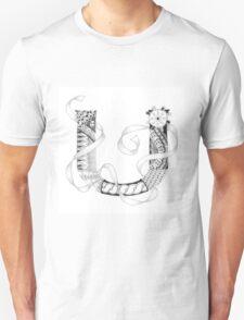 Zentangle®-Inspired Art - Tangled Alphabet - U T-Shirt