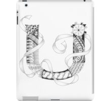 Zentangle®-Inspired Art - Tangled Alphabet - U iPad Case/Skin