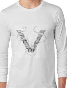Zentangle®-Inspired Art - Tangled Alphabet - V Long Sleeve T-Shirt