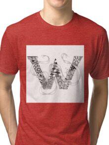 Zentangle®-Inspired Art - Tangled Alphabet - W Tri-blend T-Shirt