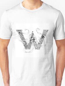 Zentangle®-Inspired Art - Tangled Alphabet - W T-Shirt