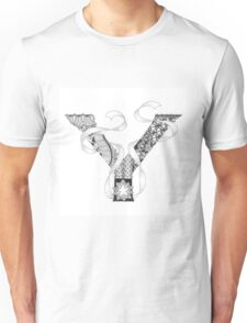 Zentangle®-Inspired Art - Tangled Alphabet - Y Unisex T-Shirt