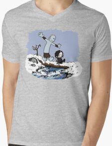 Calvin and Hobbes Beyond the Wall Mens V-Neck T-Shirt